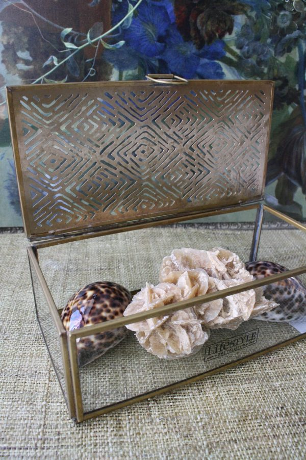 Abeni box-glazen bewaar doos- brass frame