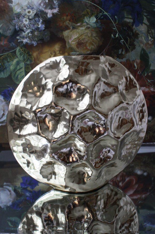 Goudkleurige metalen vaas in Schildpad Schild vorm