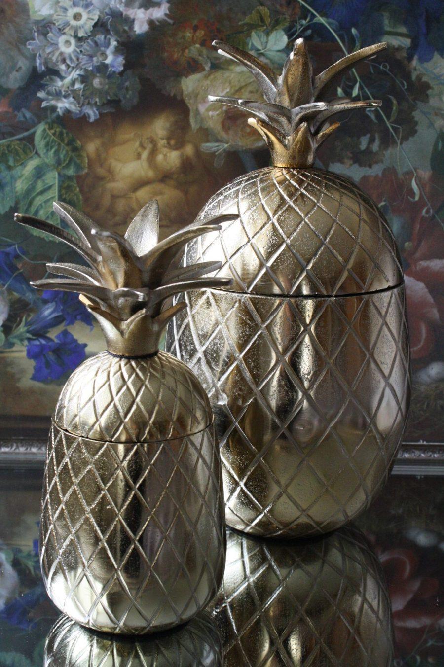 Metalen Decoratie Ananas Bewaar Pot In Vintage Gold